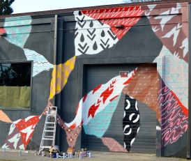 The mostly completed mural, at 3903 N Michigan Ave.