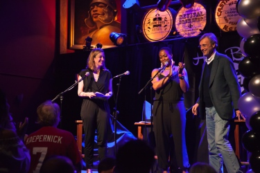 Karol Collymore, Emily Gilliland, and Thom Hartmann. Photo by Chitra Subrahmanyam