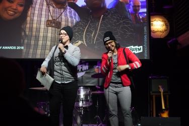 MCs Kirsten Kuppenbender & Erin Jean O'Regan. Photo by Chitra Subrahmanyam